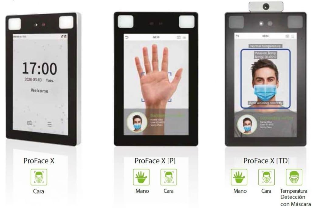 Control de acceso biométrico con detector de temperatura corporal